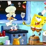 SpongeBob SquarePants making Krabby Patties